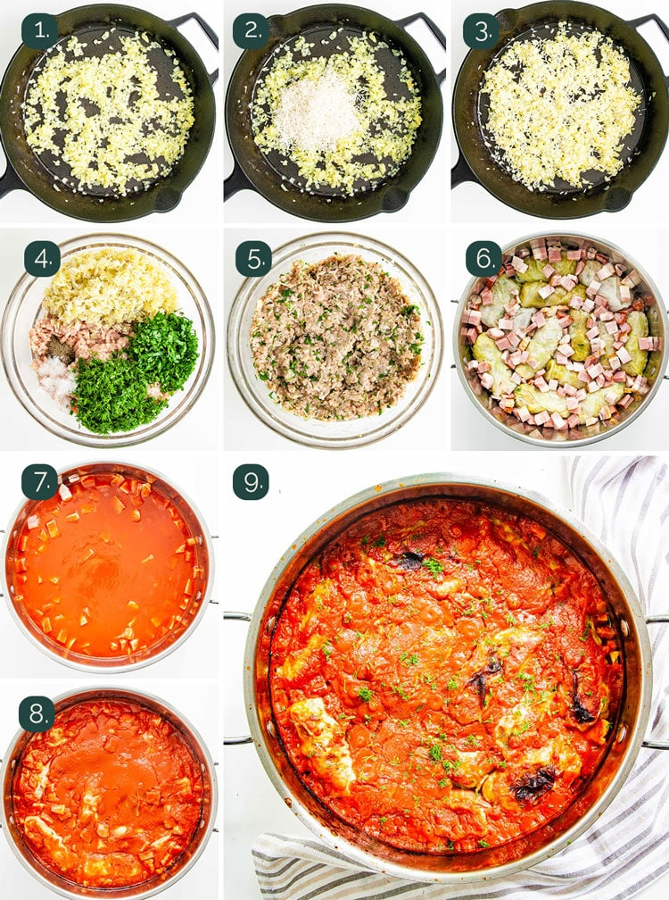 detailed process shots showing how to make the filling for cabbage rolls and how to cook them