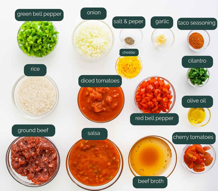 overhead shot of all the ingredients necessary to make a taco stuffed pepper casserole