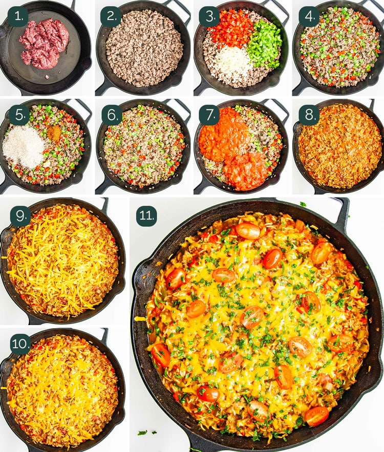 detailed process shots showing how to make taco stuffed pepper casserole in a skillet