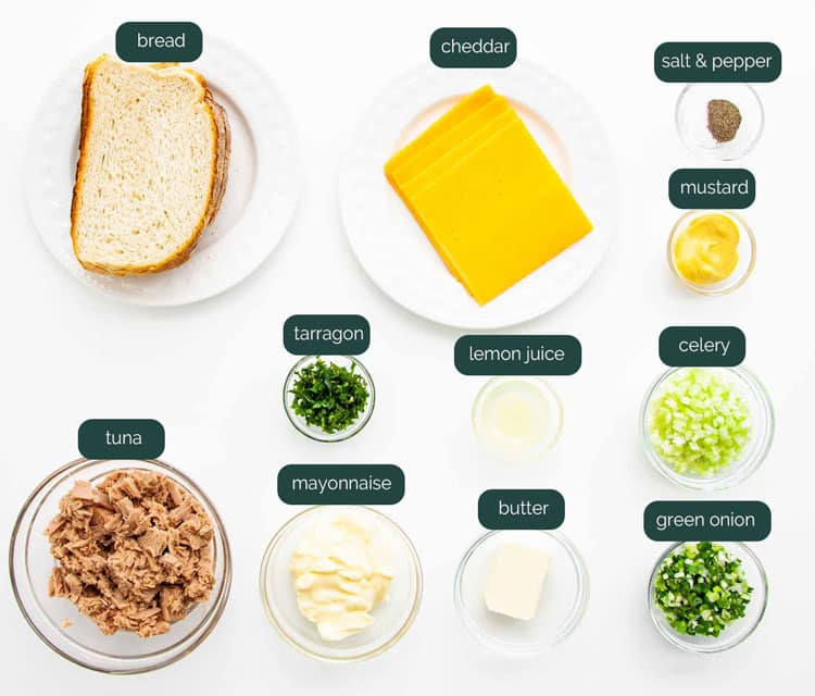 overhead shot of all the ingredients needed to make tuna melt sandwiches