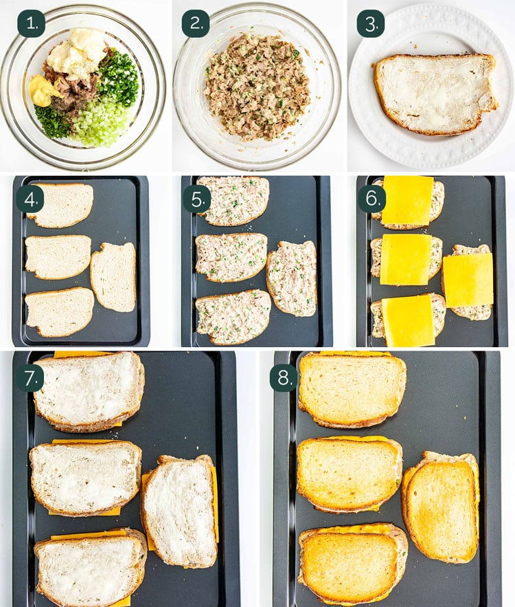 detailed process shots showing how to make tuna melts