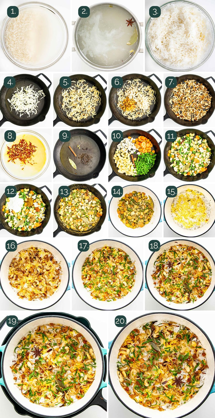 detailed process shots showing how to make vegetable biryani