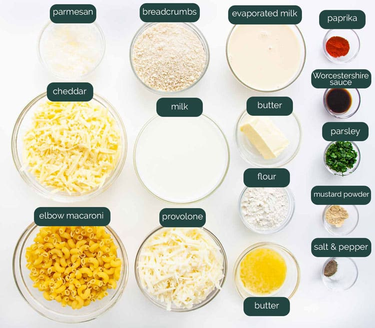 overhead shot of all the ingredients needed for baked mac and cheese