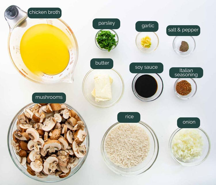 overhead shot of all the ingredients needed to make mushroom rice