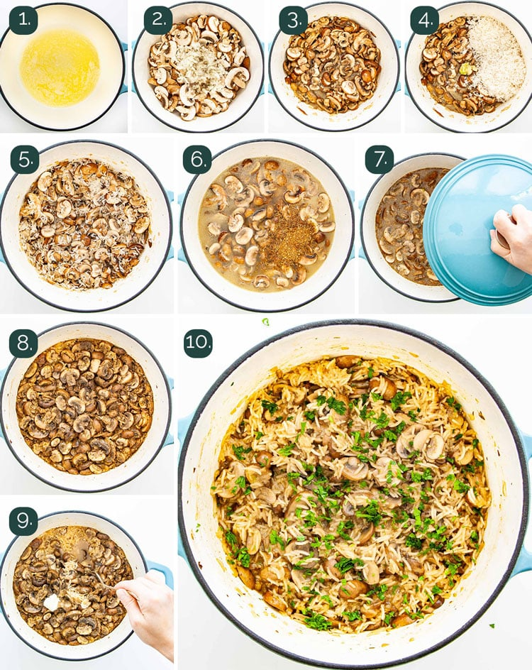 process shots showing how to make mushroom rice that's baked