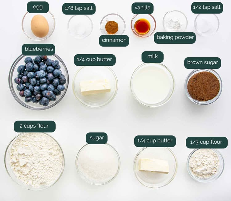 overhead shot of all the ingredients needed to make blueberry buckle
