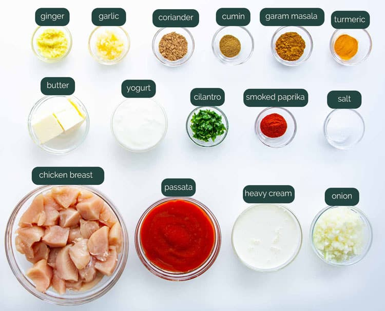 overhead shot of all the ingredients needed to make butter chicken