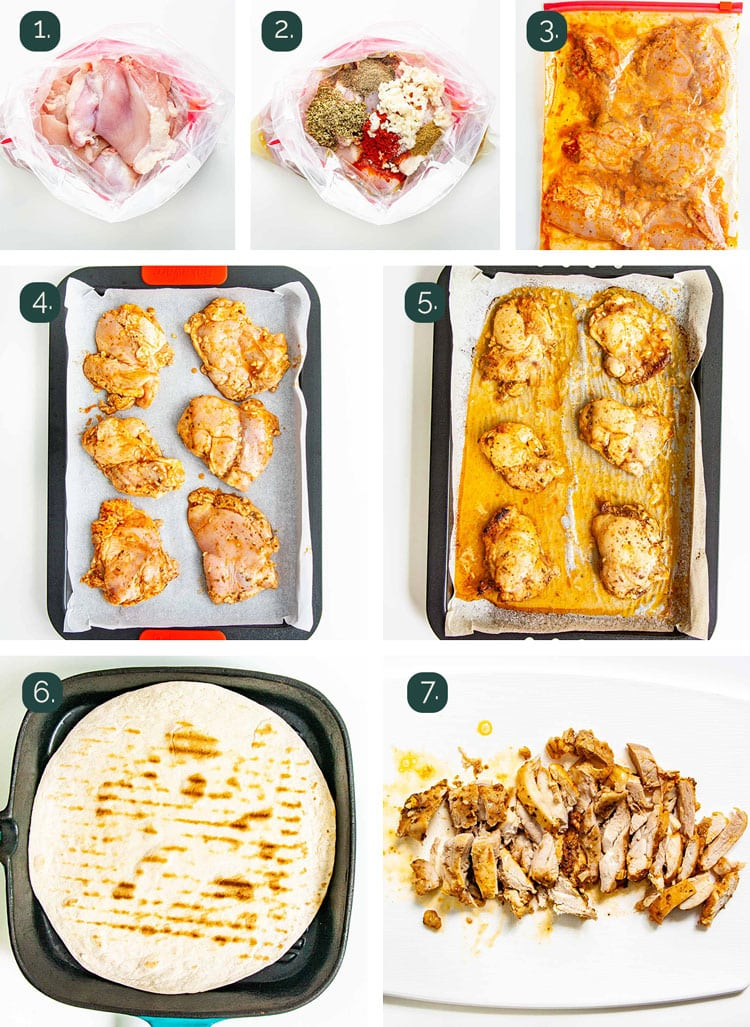 detailed process shots showing how to prepare chicken for tacos