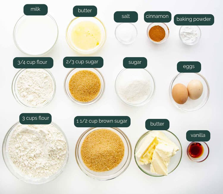 overhead shot of all the ingredients needed to make coffee cake
