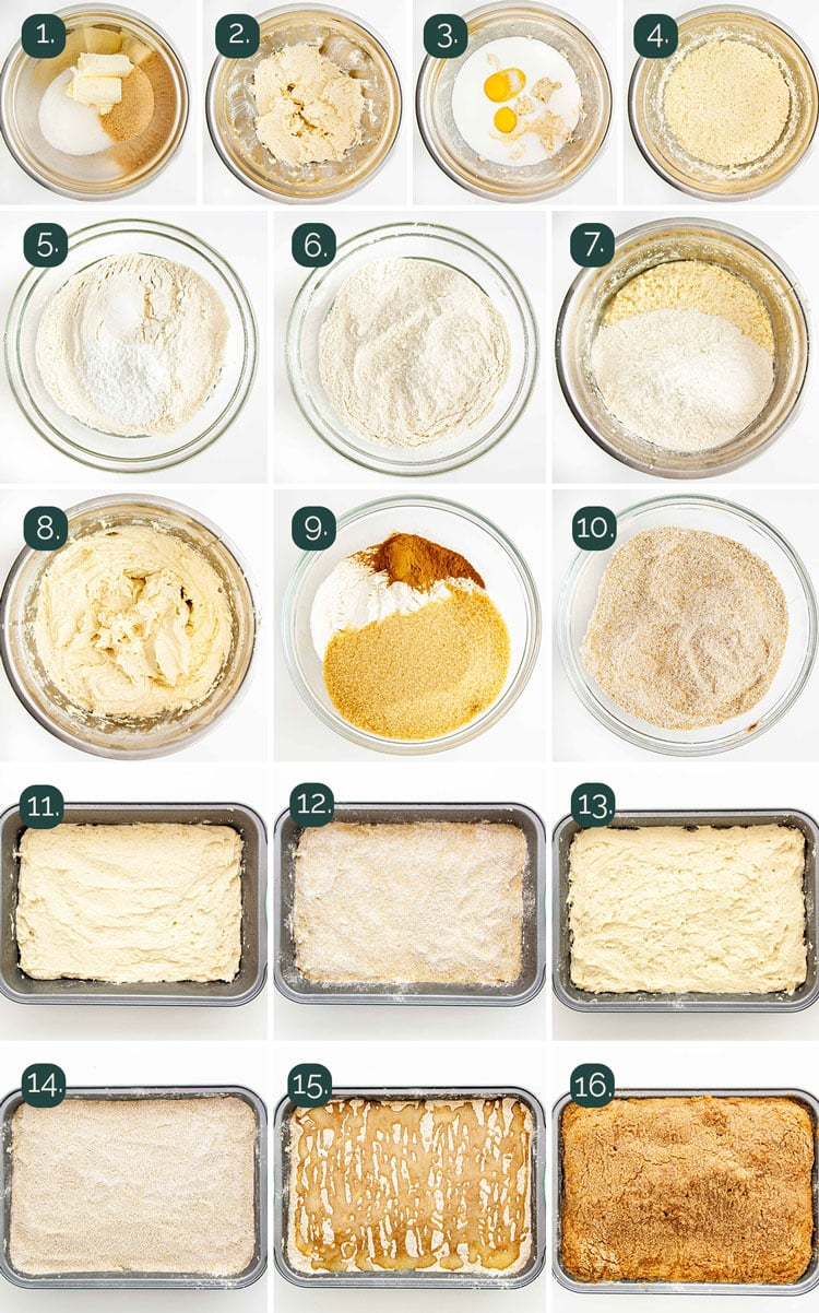 detailed process shots showing how to make coffee cake