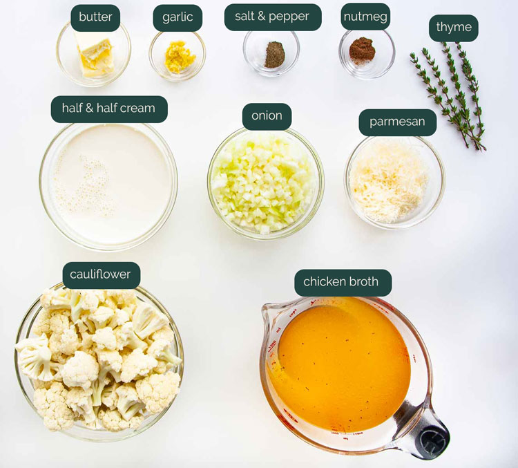 overhead shot of all the ingredients needed to make cream of cauliflower soup
