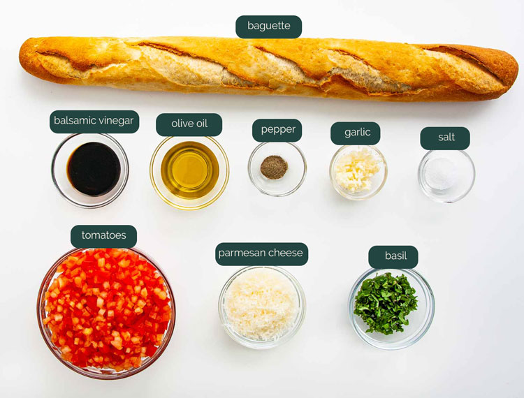 overhead shot of all the ingredients needed to make bruschetta