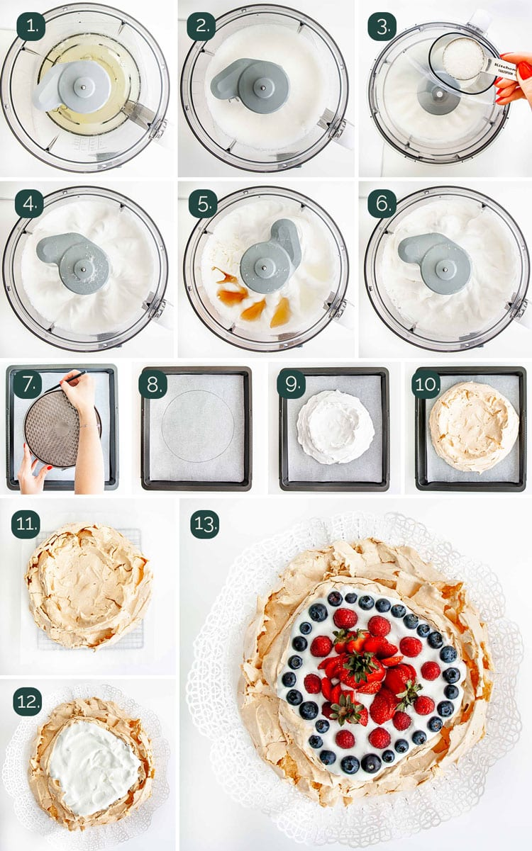 detailed process shots showing how to make pavlova