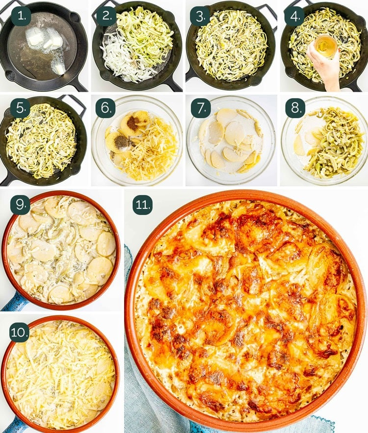detailed process shots showing how to make fennel potato gratin
