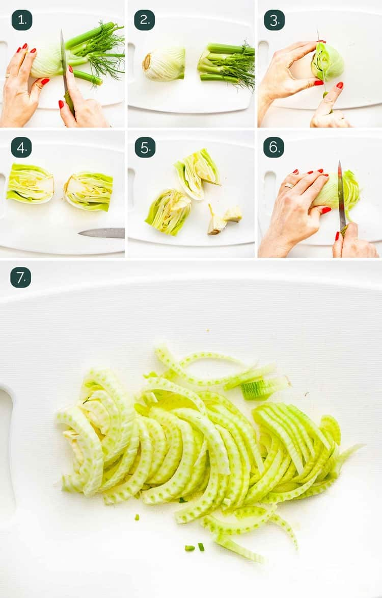 detailed shots showing how to prep and slice fennel bulbs