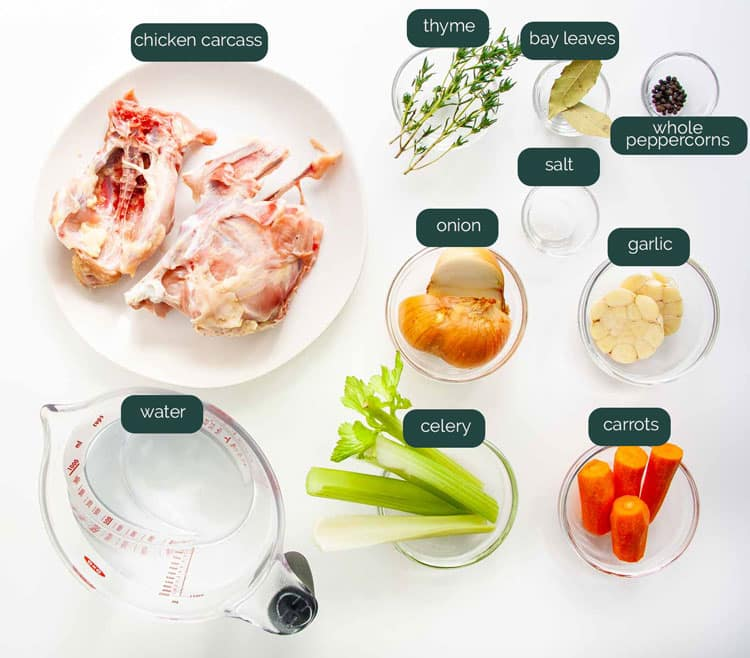 overhead shot of ingredients needed to make chicken stock in the instant pot