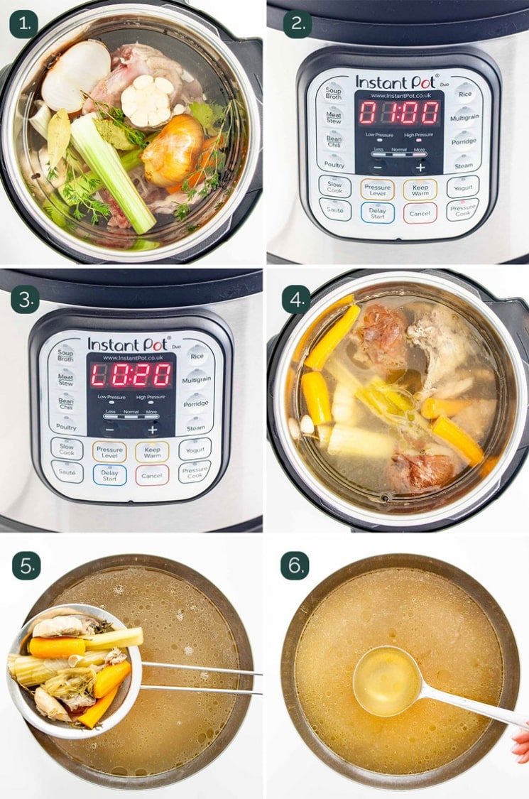 detailed process shots showing how to make chicken stock in the instant pot