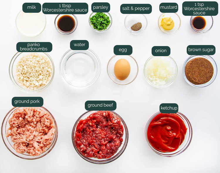 overhead shot of all the ingredients needed to make meatloaf in the instant pot