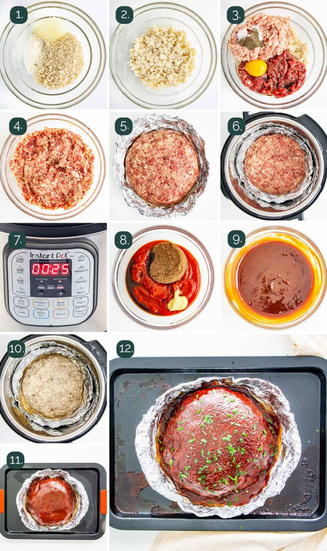 detailed process shots showing how to make meatloaf in the instant pot
