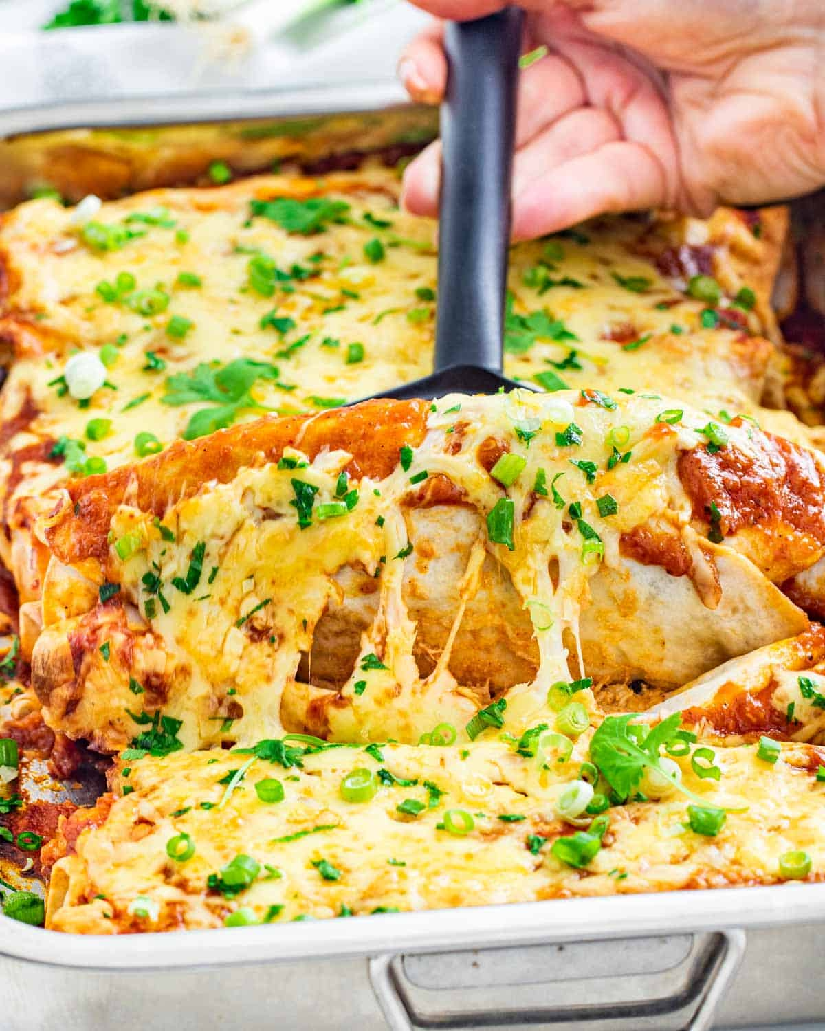 side view shot of a hand lifting up 2 chicken enchiladas from a casserole dish with a spatula