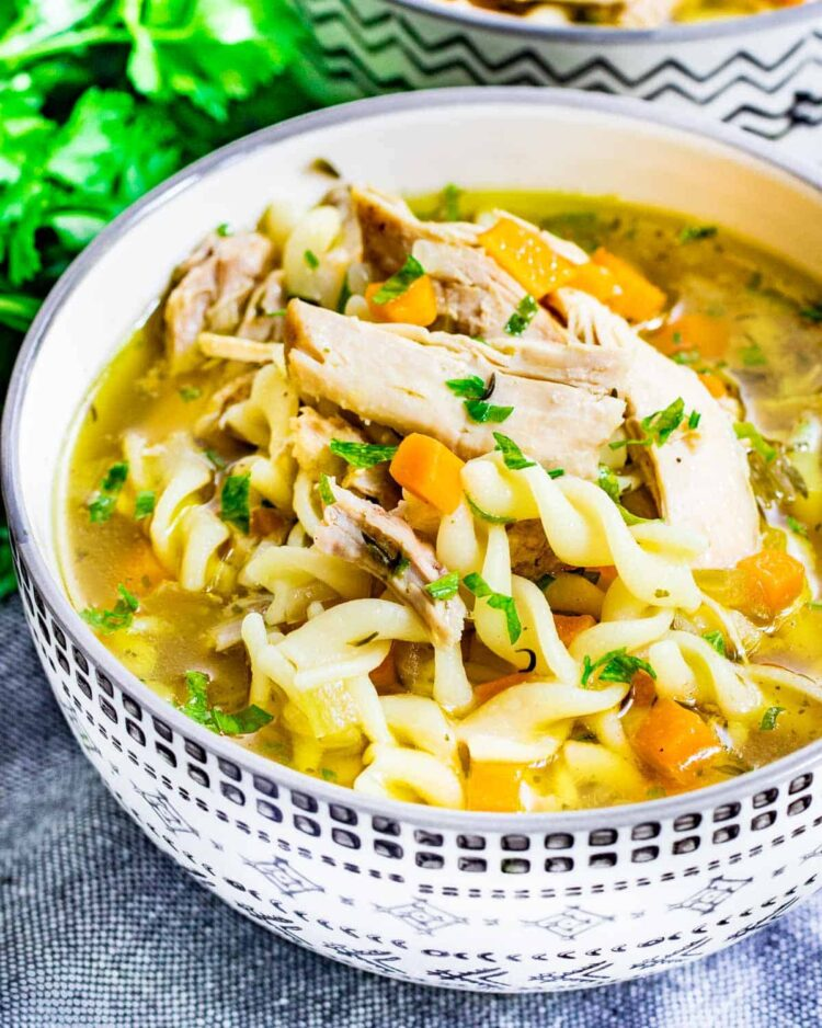 sideview shot of a bowl loaded with chicken noodle soup