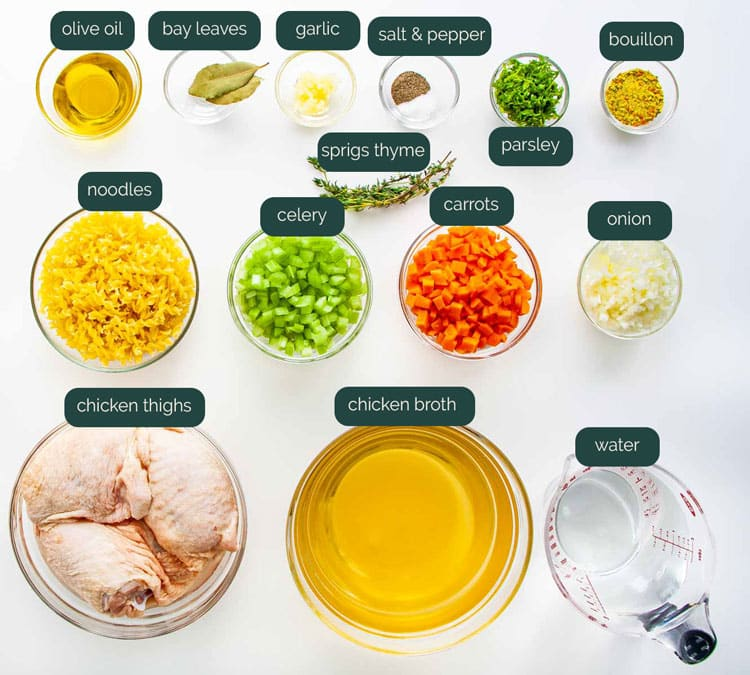 overhead shot of all the ingredients needed to make chicken noodle soup