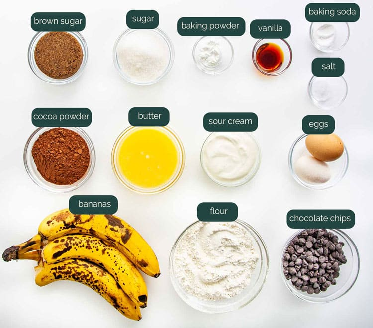 overhead shot of all the ingredients needed to make chocolate banana bread