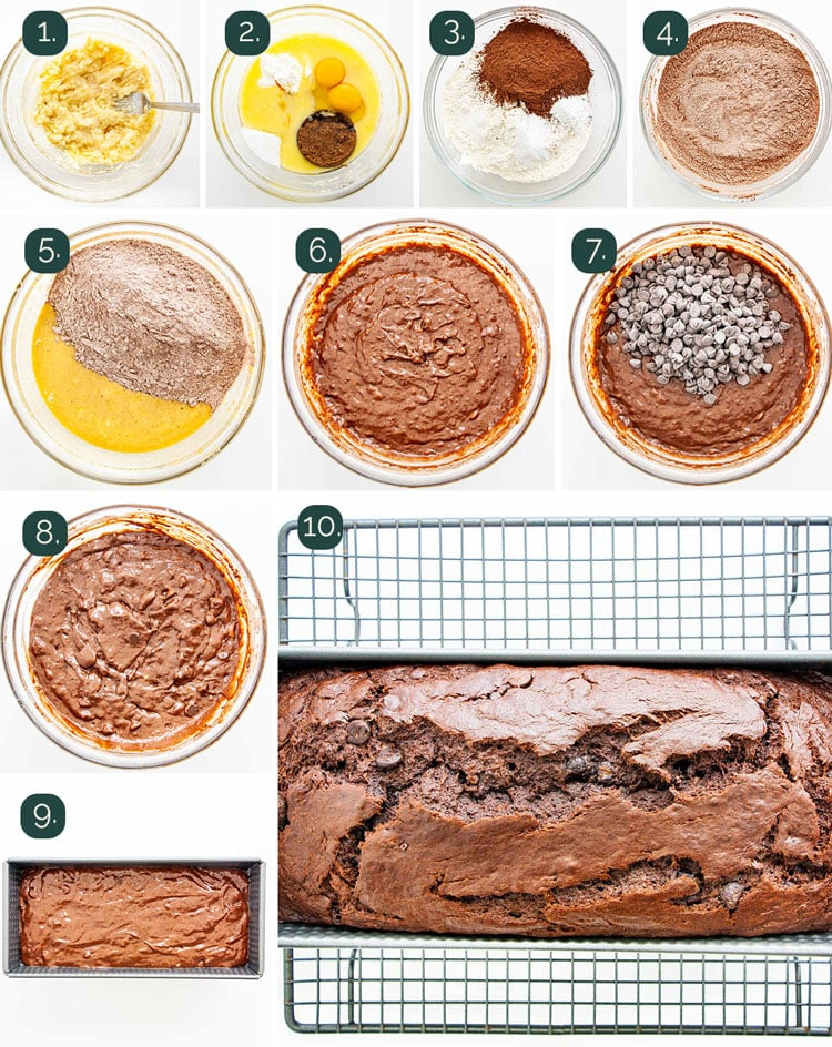 detailed process shots showing how to make chocolate chip banana bread