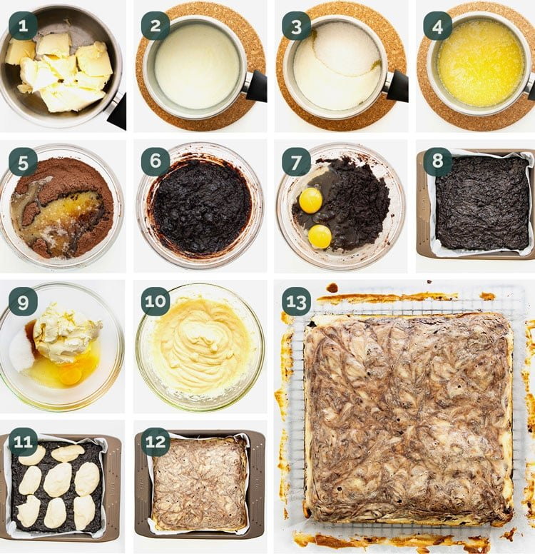 detailed process shots showing how to make cream cheese brownies