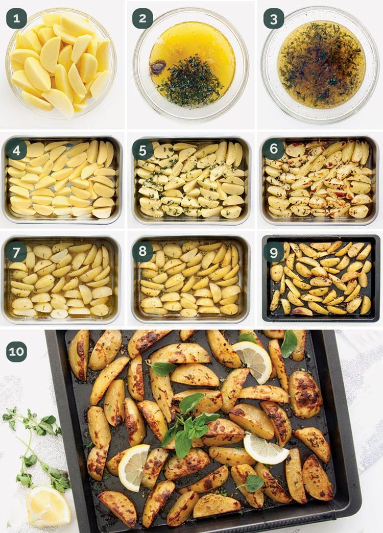detail process shots showing how to make greek lemon potatoes