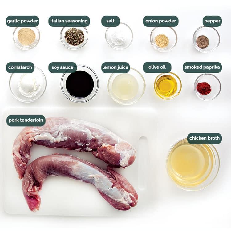 overhead shot of all the ingredients needed to make pork tenderloin in an instant pot