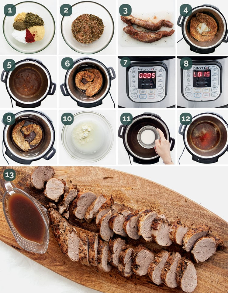 detailed process shots needed to make pork tenderloin in an instant pot