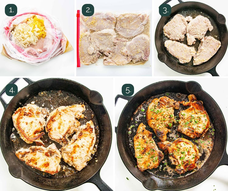 detailed process shots showing how to make lemon garlic pork chops in a skillet