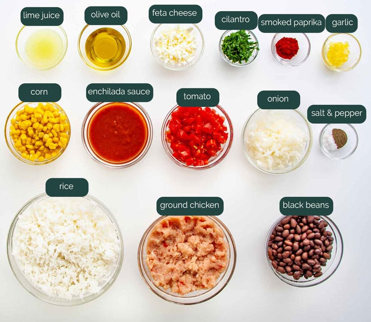 overhead shot of all the ingredients needed to make mexican fried rice