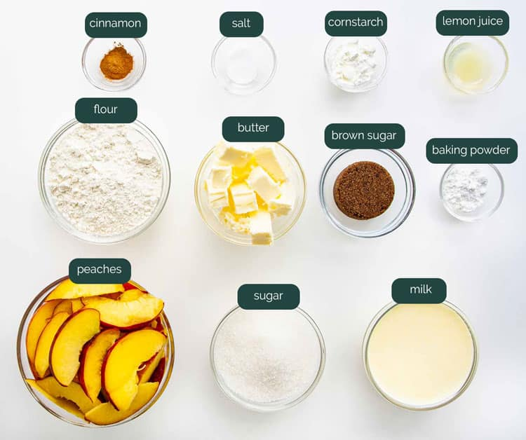 overhead shot of all the ingredients needed to make a peach cobbler