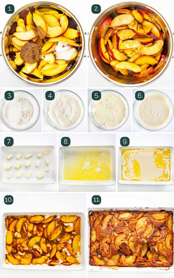 detailed process shots showing how to make a peach cobbler