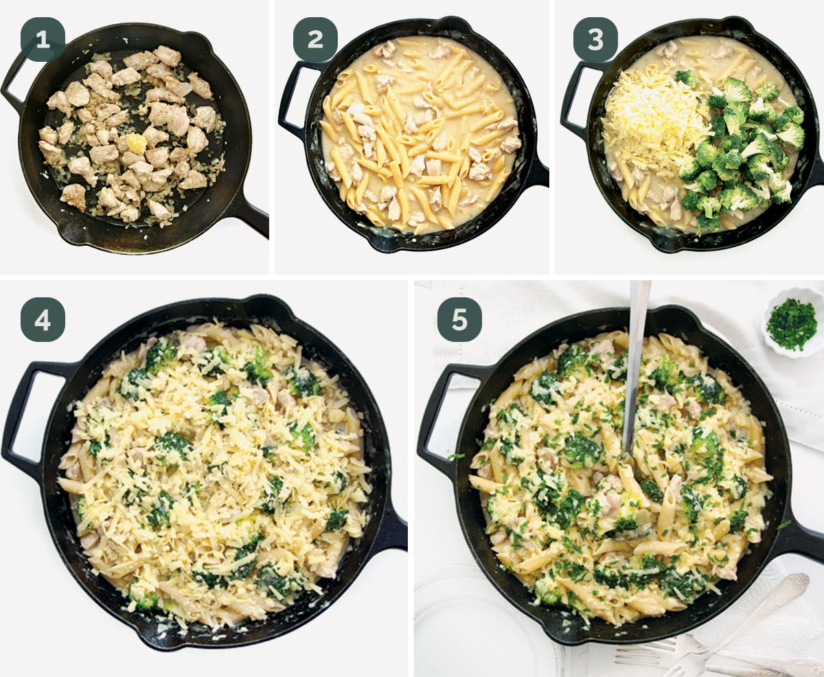 process shots showing how to make broccoli chicken casserole.