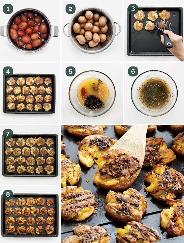 detailed process shots showing how to make smashed potatoes
