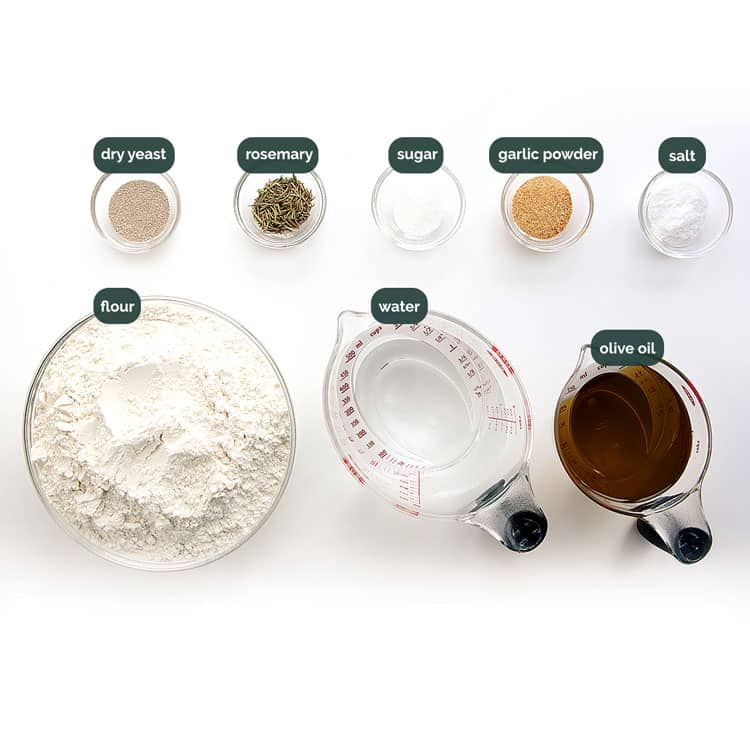 overhead shot of all the ingredients needed to make focaccia bread