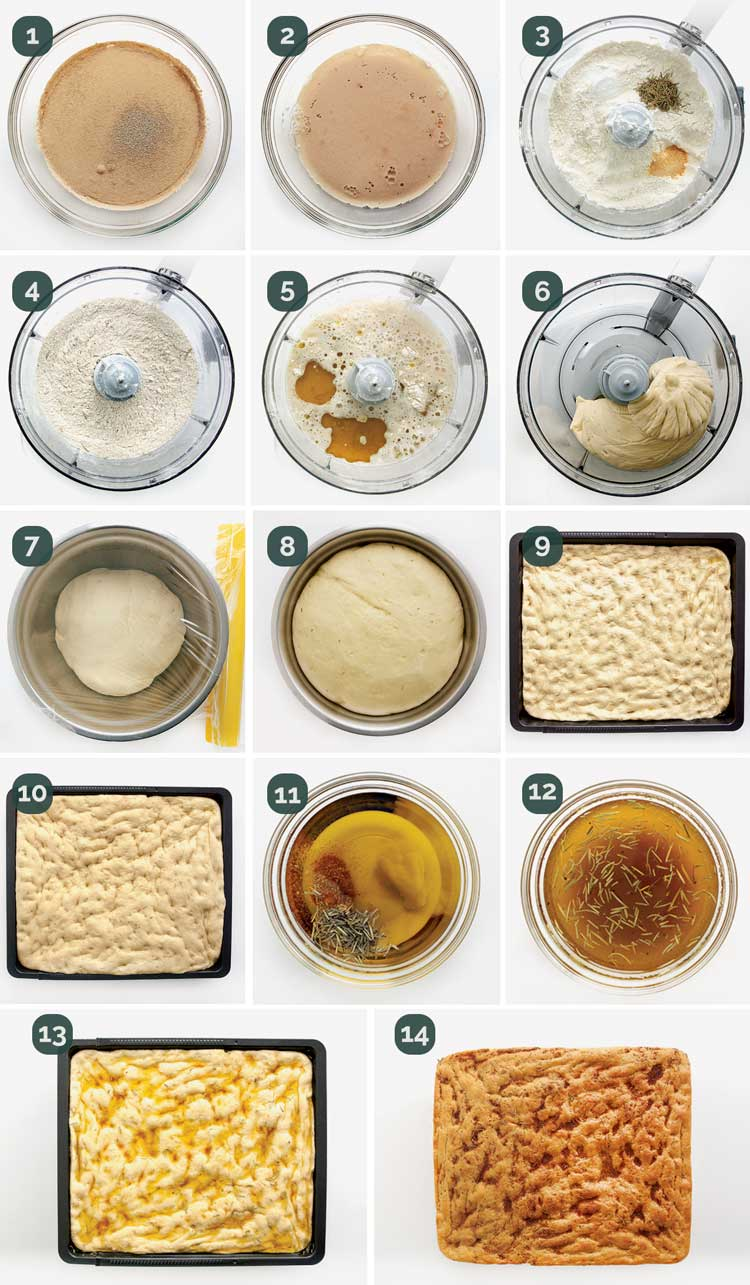 detailed process shots showing how to make focaccia bread