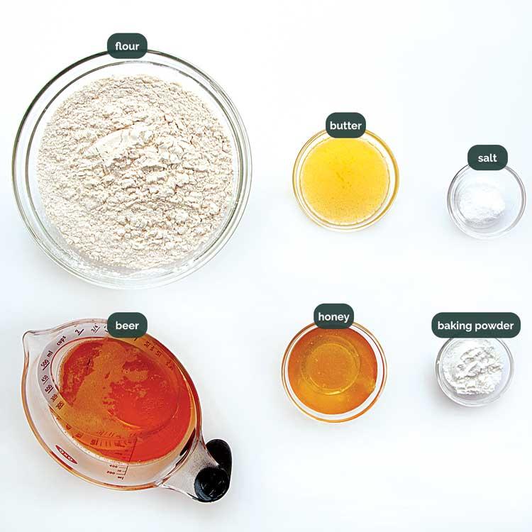 overhead shot of ingredients needed to make honey beer bread.