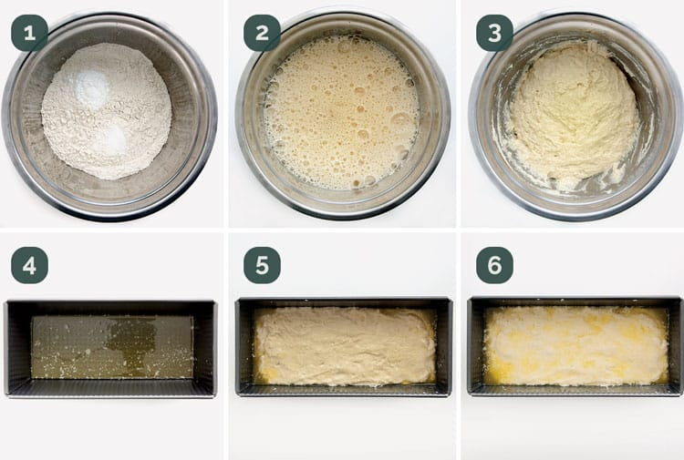detailed process shots showing how to make honey beer bread.