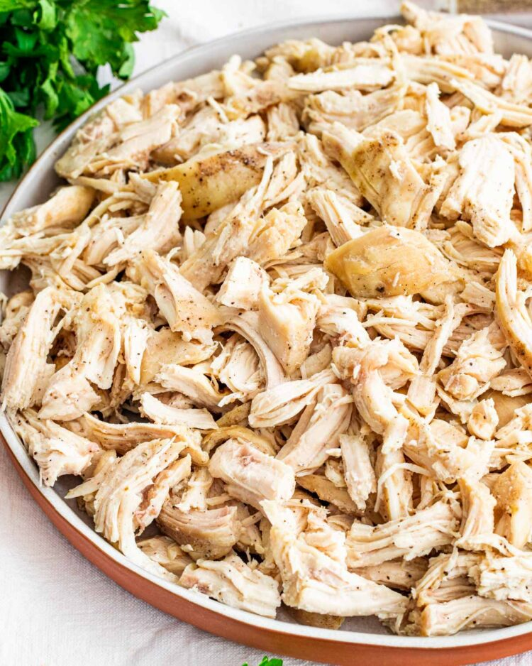 shredded chicken on a serving plate