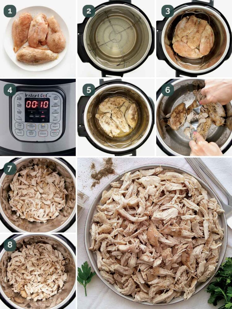 detailed process shots showing how to make chicken in the instant pot