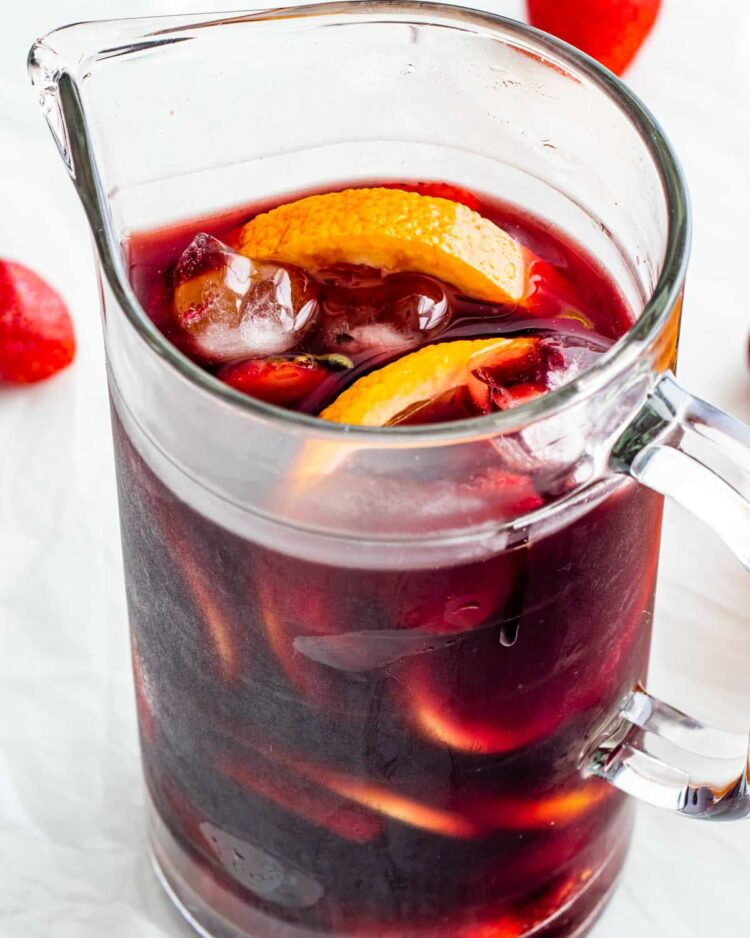 freshly made red sangria in a pitcher