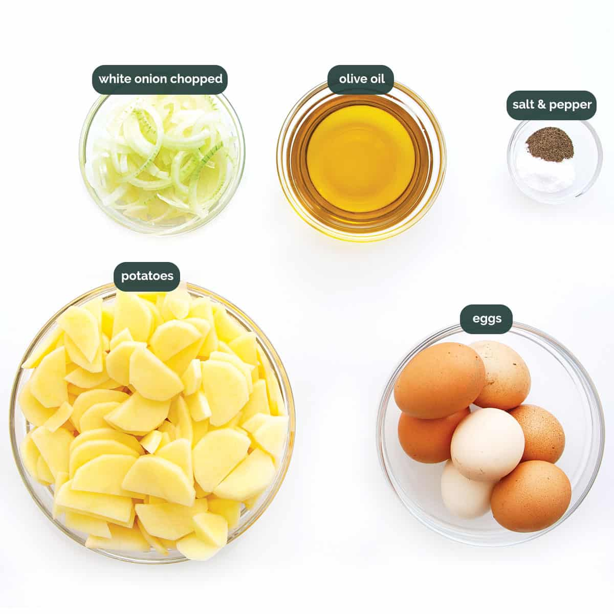 overhead of all ingredients needed to make spanish tortilla.