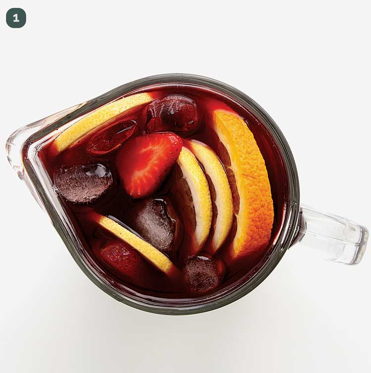 overhead shot of red sangria in a pitcher
