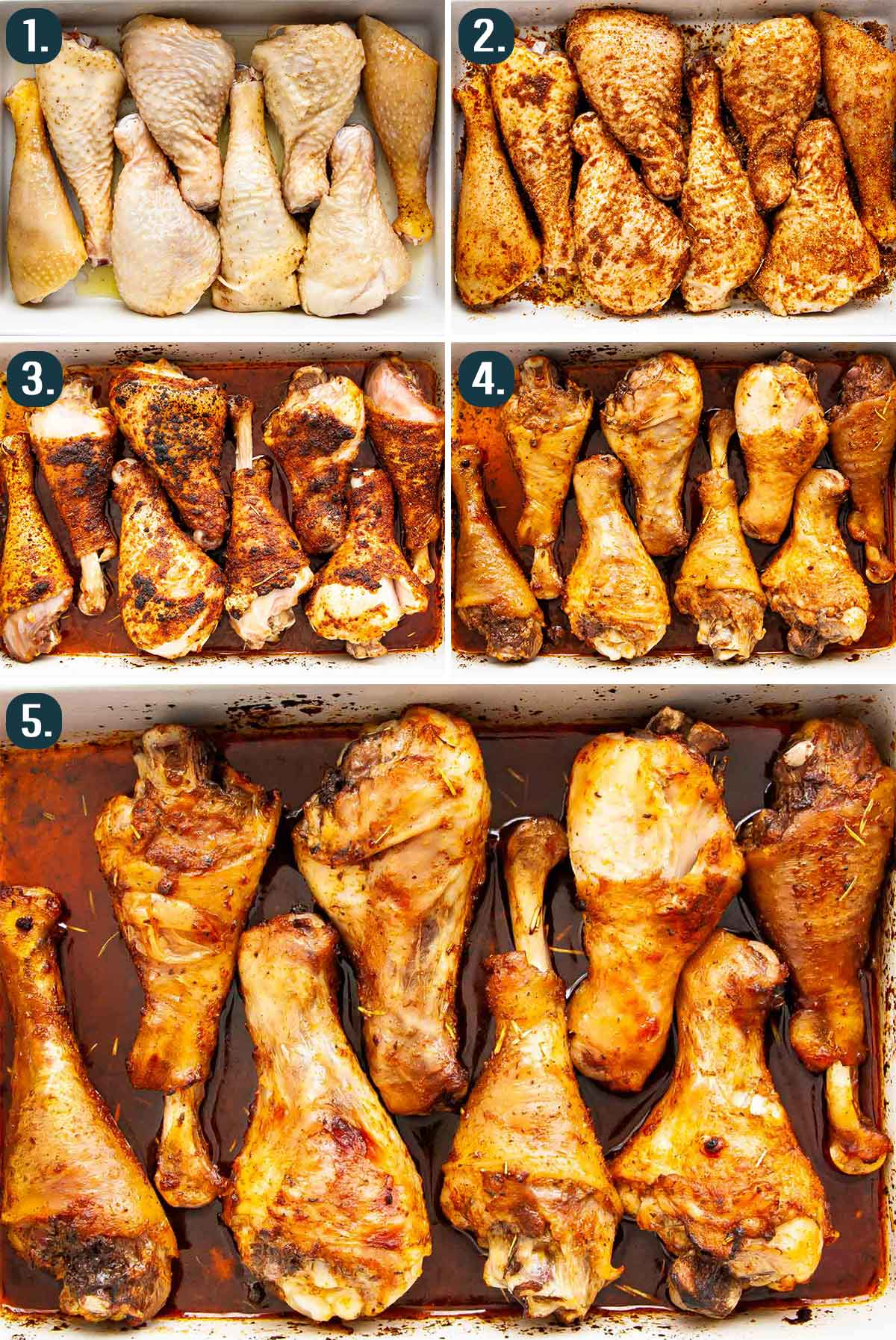process shots showing how to make baked chicken drumsticks.