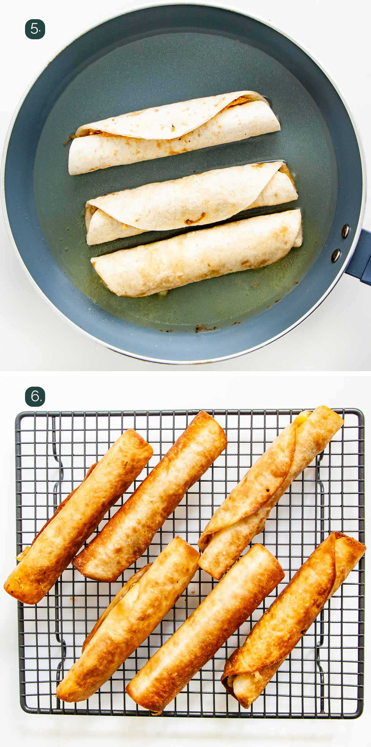 process shots showing how to fry chicken taquitos.
