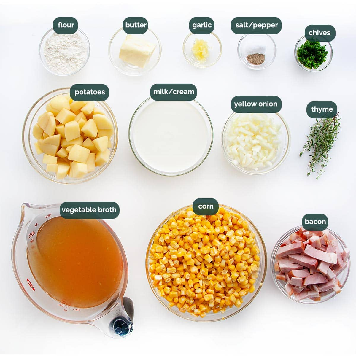 overhead shot of all ingredients needed to make corn chowder.